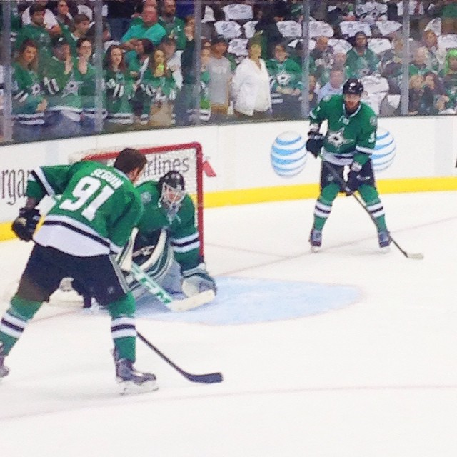 Warm ups for tonight's game. Go Stars!! #nhl #stanleycup #playoffs