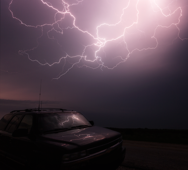 My storm chasing vehicle under spider lightning