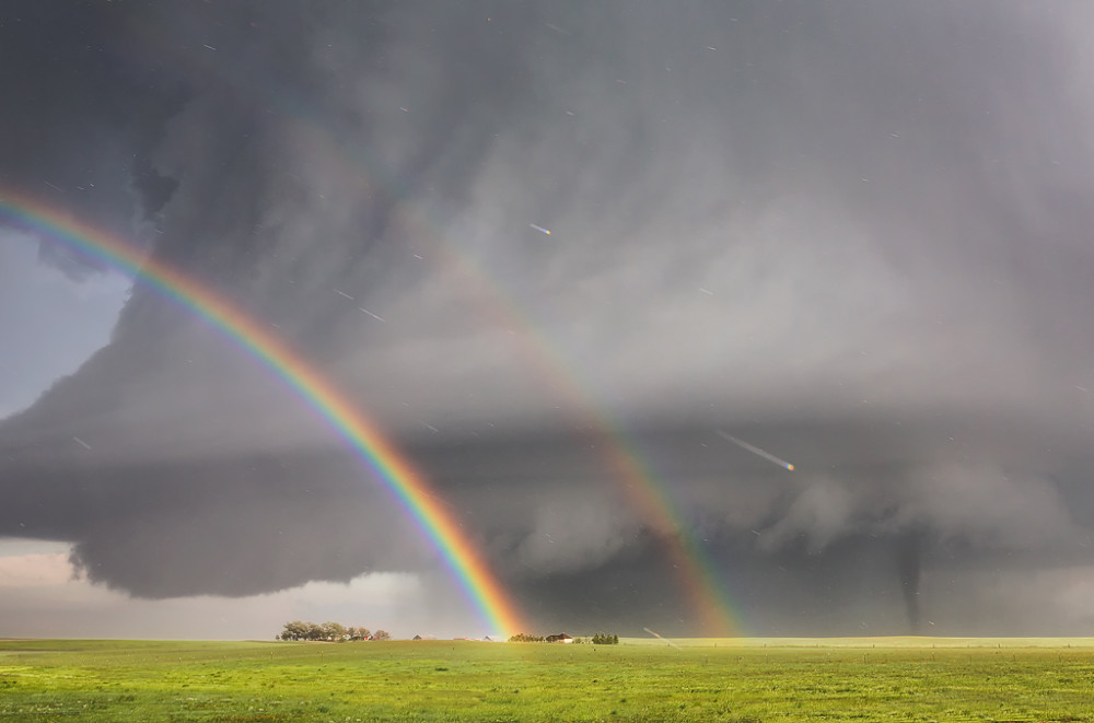 Double Rainbow with Tornado /captured outside of Simla, Colorado, June 4, 2015 - 7:30pm