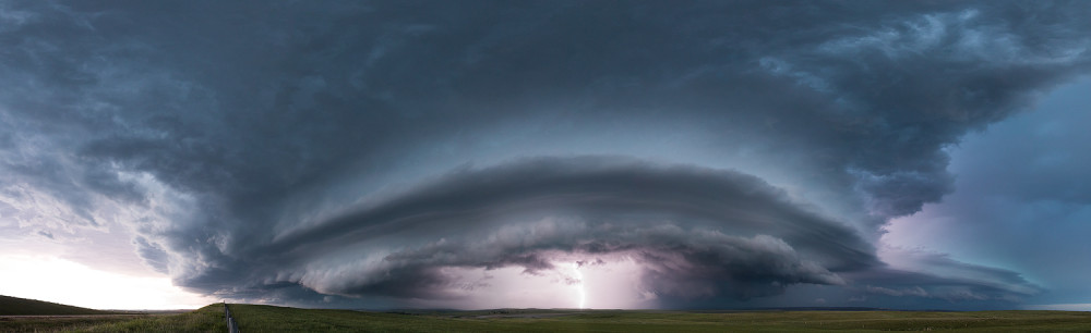 Storm Chasing in Pine Haven, Wyoming. Panoramic supercell