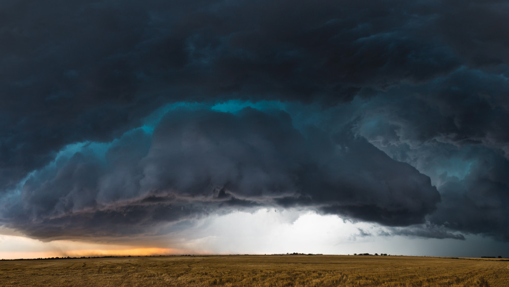 Panoramic view of a tornado warned supercell outside of Kingfisher, Oklahoma