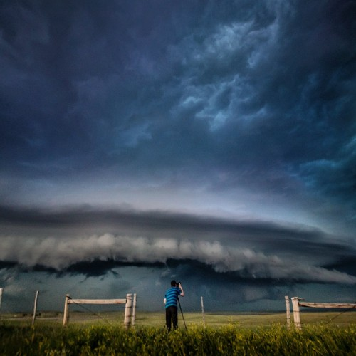 Kelly shooting incoming supercell. Pine Haven, Wyoming