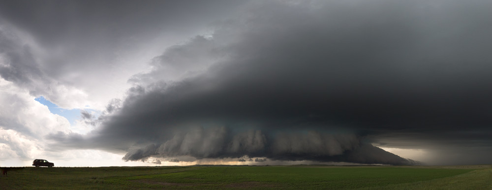 Panoramic image of a amazing wall and tail cloud associated with strong updraft near Boyes, Montana.
