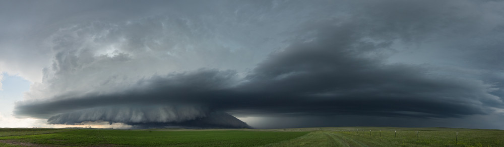 Wide panoramic image of the Boyes, Montana supercell ingesting another storm (on the right) making it stronger.